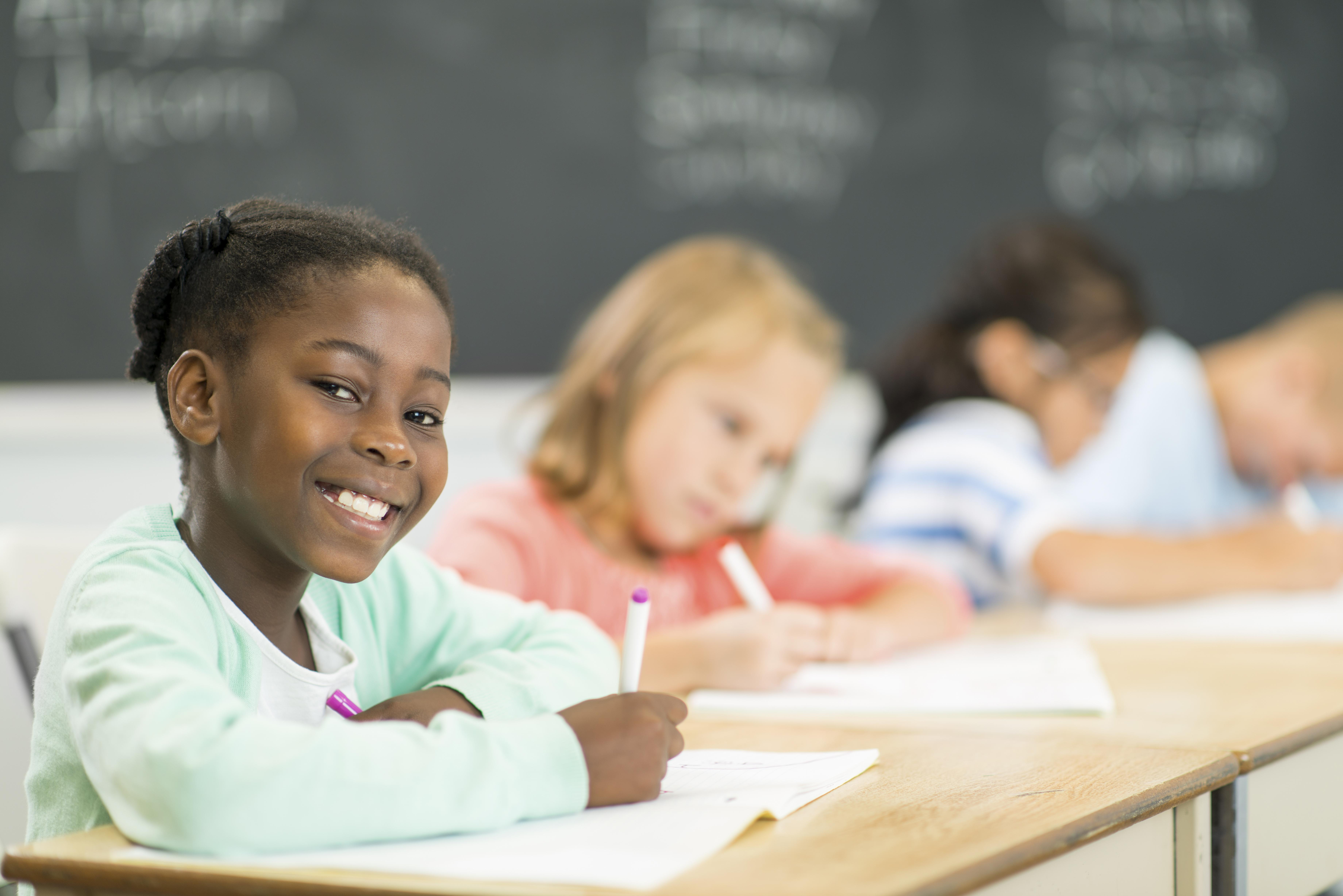 Diverse elementary students in the classroom
