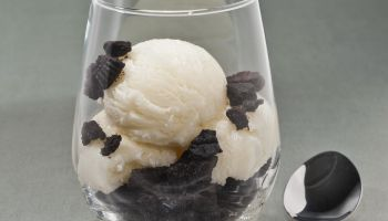 Cookies and Ice cream dessert in a glass