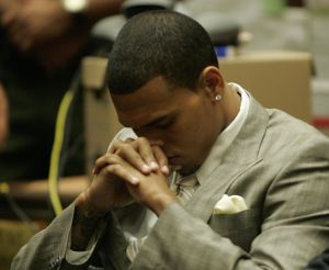 Singer Chris Brown inside the Los Angele