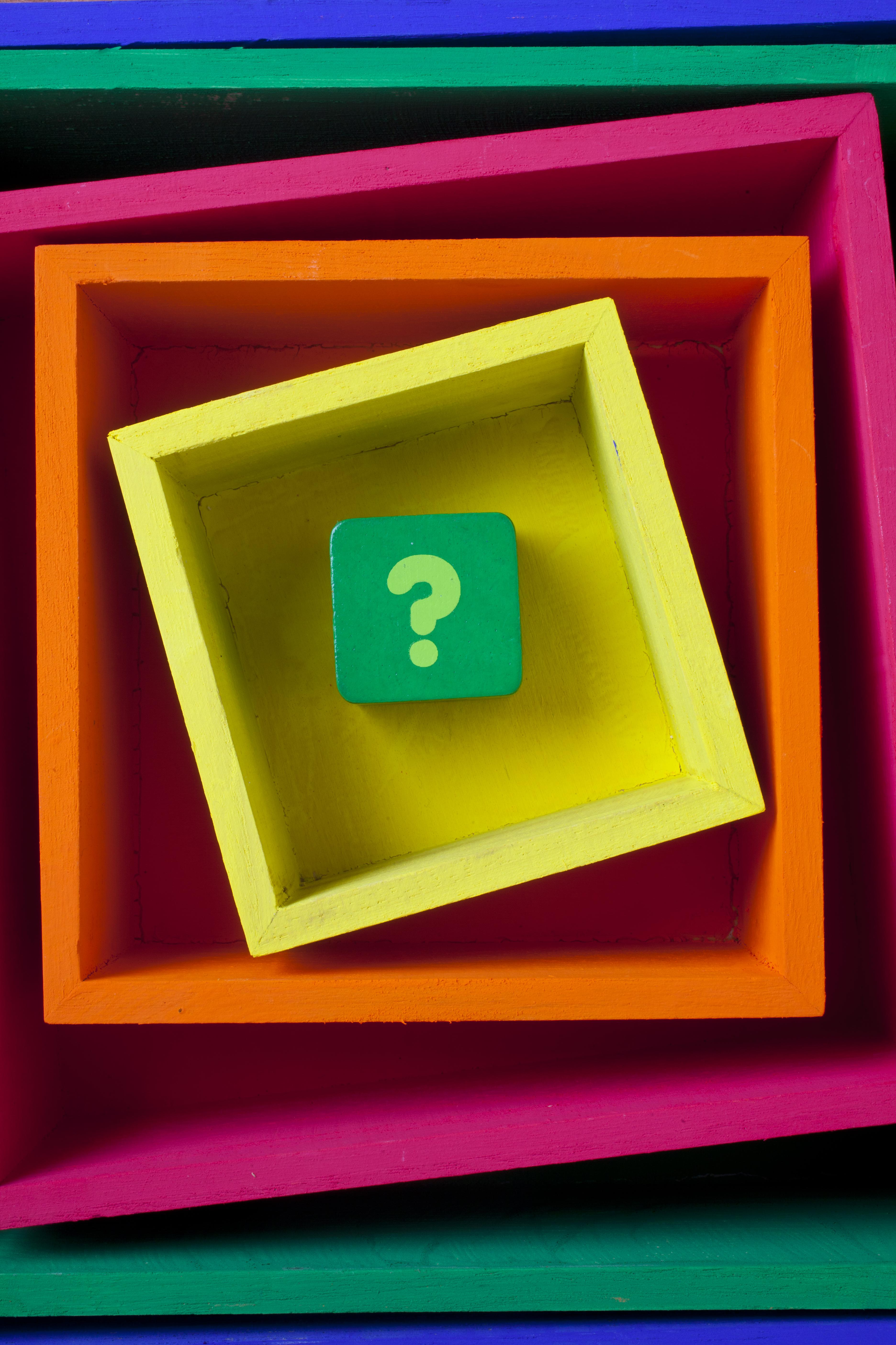 Question mark in boxes