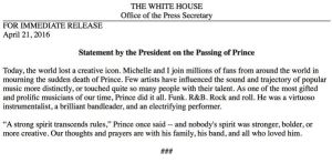 President Obama Speaks On Loss of Prince