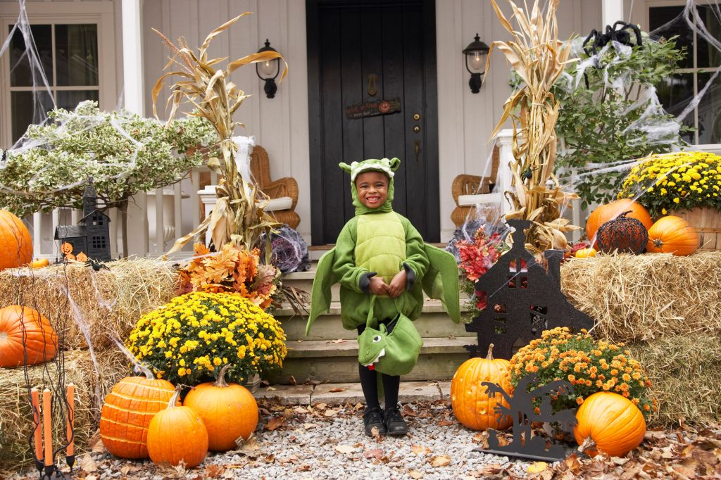 Portrait of Boy Dressed-up as Dragon Standing in Front of House
