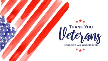 Veterans Day. Thank You Veterans. Watercolor USA flag. Vector