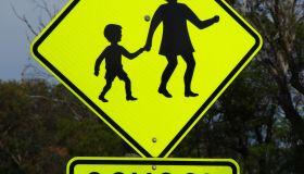School crossing road warning sign
