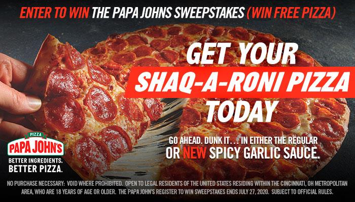 Local: Papa John's Register to Win Sweepstakes_RD Cincinnati WIZF_July 2020